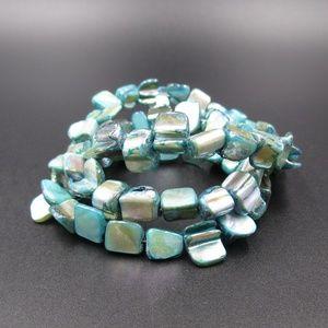Jewelry - Vintage Unique Blue Shell Wrap Around Bracelet